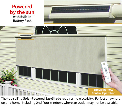 SunSetter Solar-Powered EasyShade with built-in battery pack and Remote Control