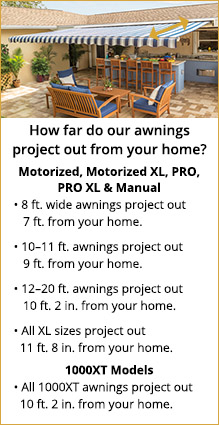 Awnings projection chart